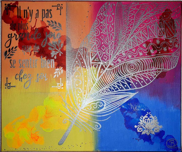 Feather - L'Empreinte Barbara Cottier - Toile 60X50cm