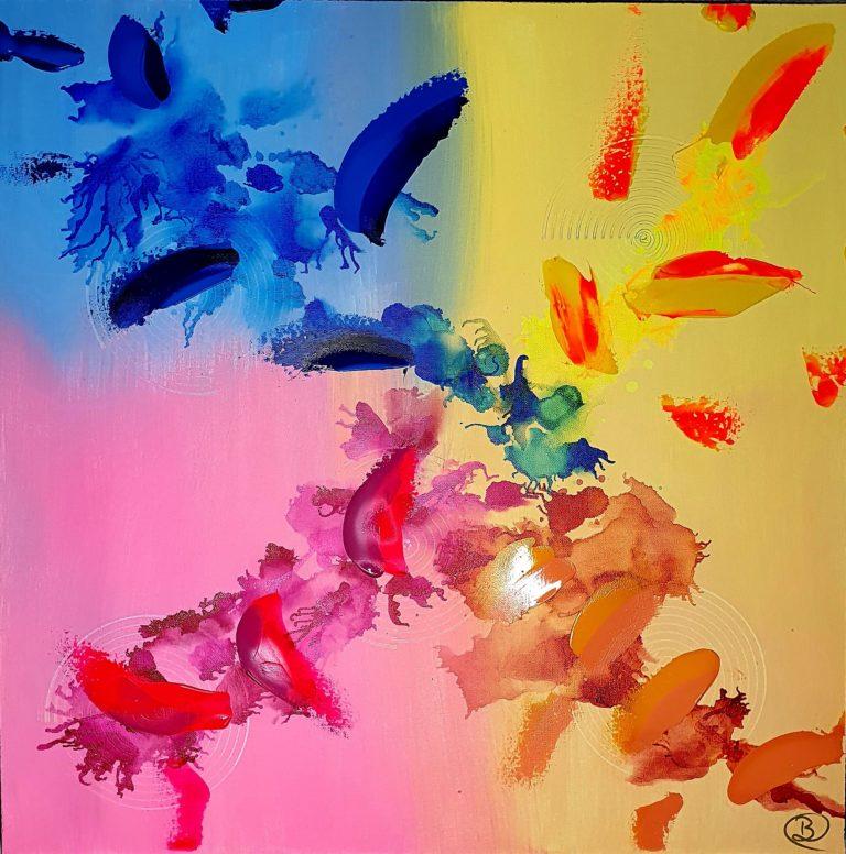 Quadricolore - L'Empreinte Barbara Cottier - Toile 60X60cm